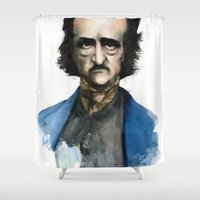 edgar allan poe Shower Curtains featuring Edgar Allan Poe by Jaume