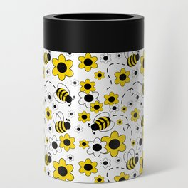 Honey Bumble Bee Yellow Floral Pattern Can Cooler