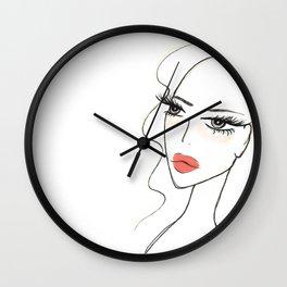 Red lips girl portrait Wall Clock