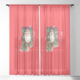 SANTA CLAUS with Stainled Glass effect Sheer Curtain