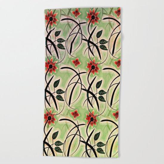 Flower Swirl Pattern Day Beach Towel