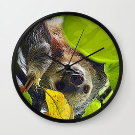 AnimalPaint_Sloth_20171201_by_JAMColors Wall Clock