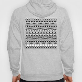 Aztec Essence Pattern II Black on White Hoody