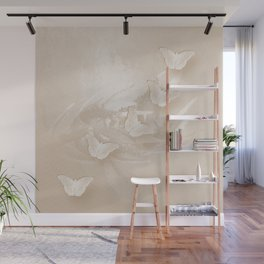 Fabulous butterflies and wattle with textured chevron pattern in subtle iced coffee Wall Mural