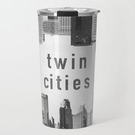 Twin Cities Minneapolis and Saint Paul Minnesota Skylines Travel Mug
