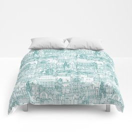 Edinburgh toile teal white Comforters