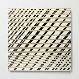 Geometric ivory black gold modern stripes pattern Metal Print