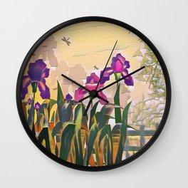 "A series of ""Favorite pillow"" ""Irises"" Wall Clock"