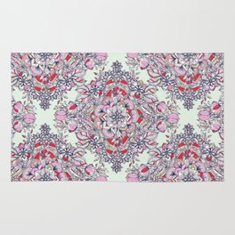 Floral Diamond Doodle in Red and Pink Rug