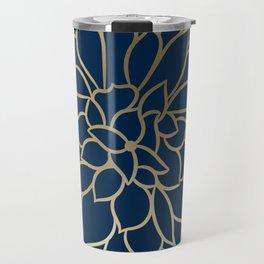 Floral Prints, Line Art, Navy Blue and Gold, Artist Prints Travel Mug