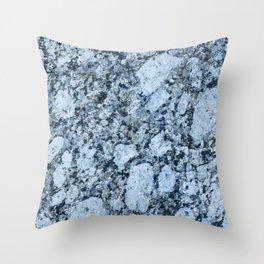 Blue textured granite rock Throw Pillow