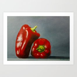 Sweet Red Bell Peppers Oil on Canvas. Realistic Still Life Art Print