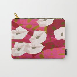 White Flowers Abstract Design Carry-All Pouch