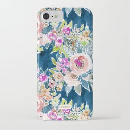 NAVY SO LUSCIOUS Colorful Watercolor Floral iPhone Case