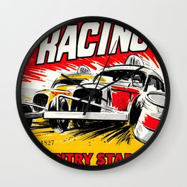 Coventry Stock Car Racing Poster Wall Clock