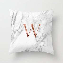 Monogram rose gold marble W Throw Pillow