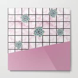 Succulents geometric composition - Antique Pink Metal Print