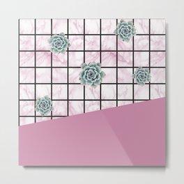 Succulents geometric composition - Antique Pink Metal Print