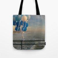 santa monica Tote Bags featuring Santa Monica pier 4 by Umbrella Design
