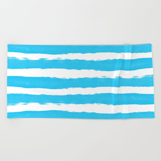 Simple aqua and white handrawn stripes - horizontal - for your summer on #Society6 Beach Towel