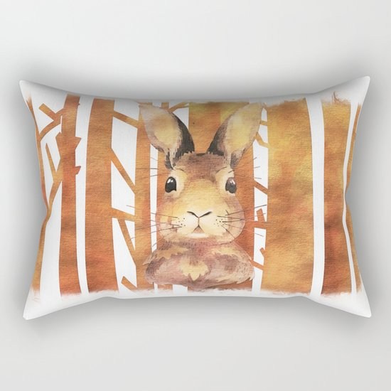 Fast Rabbit in the forest- abstract Hare watercolor Illustration Rectangular Pillow