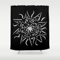 celtic Shower Curtains featuring Celtic sun by Mi Nu Ra