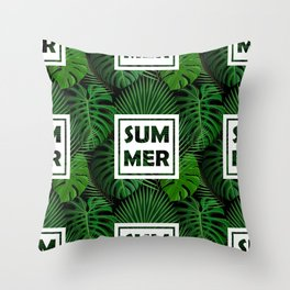 Tropical green monster leaves floral summer typography Throw Pillow
