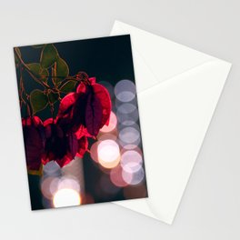 Night Lights And Flowers Stationery Cards