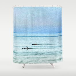 Seascape with kayaks watercolor Shower Curtain
