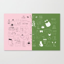 Cute Cat Doodles on pink and green Canvas Print