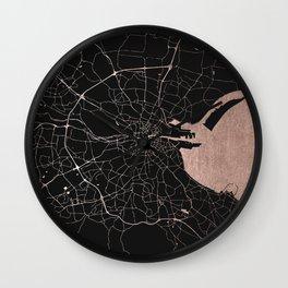 Black on Rosegold Dublin Street Map Wall Clock