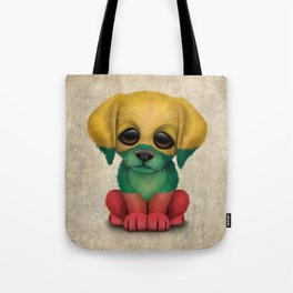 Cute Puppy Dog with flag of Lithuania Tote Bag