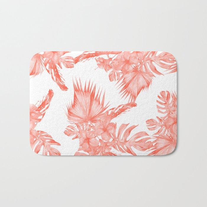 Tropical Palm Leaves Hibiscus Flowers Deep Coral Bath Mat