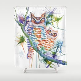 Momma and Baby Owls Shower Curtain