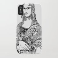 mona lisa iPhone & iPod Cases featuring Mona Lisa by April Gann
