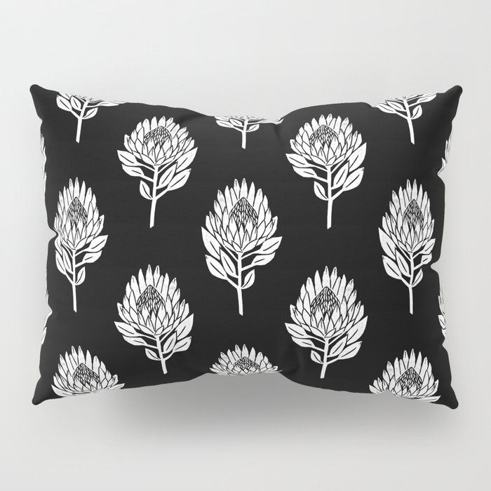 Linocut Protea Flower Printmaking Pattern Black And White Floral