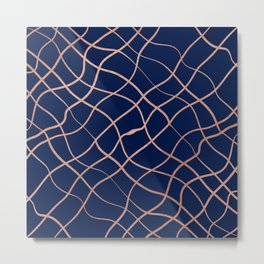 Abstract Elegant Rose Gold Navy Blue Geometrical Pattern Metal Print