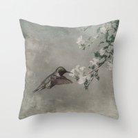 hummingbird Throw Pillows featuring HUMMINGBIRD by Christina Lynn Williams