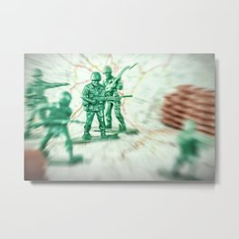 War with little soldier toy on map concept Metal Print