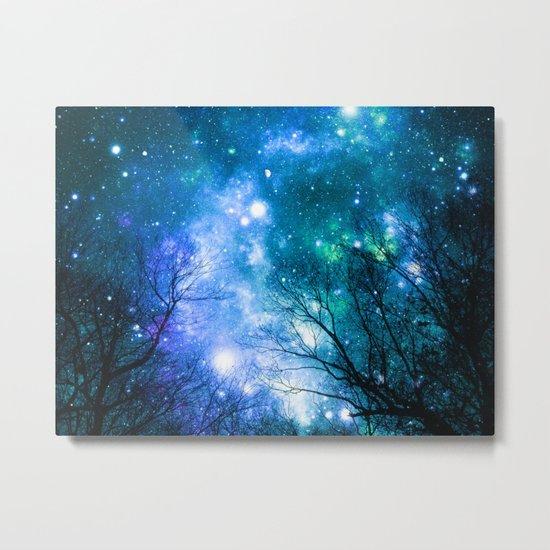 Black Trees Blue Turquoise Teal Space Metal Print