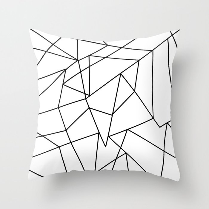 Simple Modern Black And White Geometric Pattern Throw Pillow By