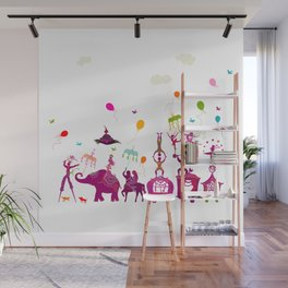 colorful circus carnival traveling in one row on white background Wall Mural