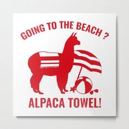 Alpaca Towel Metal Print