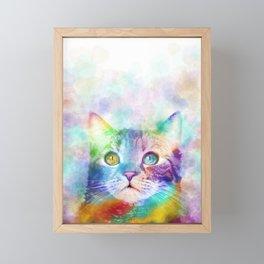 Cat 663 Multicolor cat Framed Mini Art Print