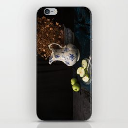 Green apples and china still life iPhone Skin
