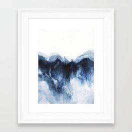 Abstract Indigo Mountains Framed Art Print