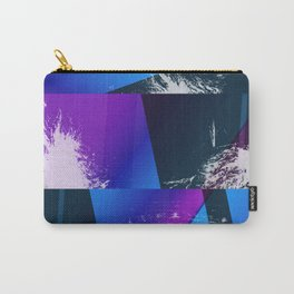 Purple and Cyan Abstract Glitch Collage Carry-All Pouch