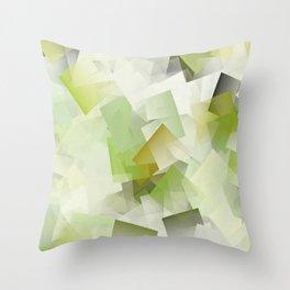 Geometric Stacks Green Throw Pillow