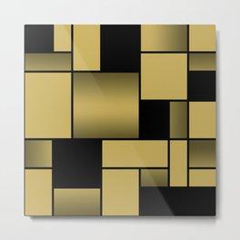 Mondrian Neoplastic Gold Art Metal Print