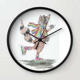 Roll on, Rainbow Raccoon! Wall Clock